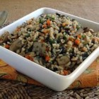 Multi Grain Pilaf - Three types of rice are cooked with white cooking wine, broth, mushrooms, carrots and thyme to yield a truly delicious side dish.