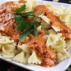 Vodka Pasta a la Guido - Penne with a rich, spicy pink sauce. Save it for special occasions. Your family or friends will think you slaved for hours to create it. Increase or decrease the red pepper flakes to your taste.
