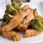 Stir-Fry Chicken and Broccoli - Sliced chicken breasts and broccoli are stir-fried with a fragrant, spicy mixture of soy sauce, sherry, oyster sauce, garlic, ginger, and sambal oelek, an Asian chile paste.