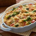 Cheddar Broccoli and Chicken Casserole from Country Crock(R) - This cheesy casserole with fresh veggies and chunks of cooked chicken bakes up golden and bubbly in about 30 minutes for a quick weeknight meal.