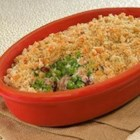 Sweet Pea Autumn Casserole from Country Crock(R) - Mushrooms, dried cranberries, and green peas combined with a creamy base are topped with stuffing mix and baked until golden brown.