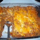 Dorito(R) Casserole - Nacho cheese-flavored tortilla chips are layered with ground chicken and pork, sour cream, and 2 cheeses for an easy weeknight meal.