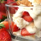Strawberries and Cream Trifle - Five simple ingredients are all you need for a quick and easy strawberries and cream trifle.