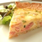 Becky's Healthier Ham and Cheese Quiche - Egg substitute, part-skim mozzarella, and fat-free evaporated milk are what make this delicious quiche waist-line friendly.