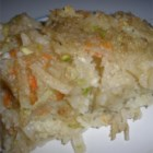 Traditional Potato Kugel - Grated potatoes, zucchini, carrot, and onions are baked together in this comforting savory pudding.