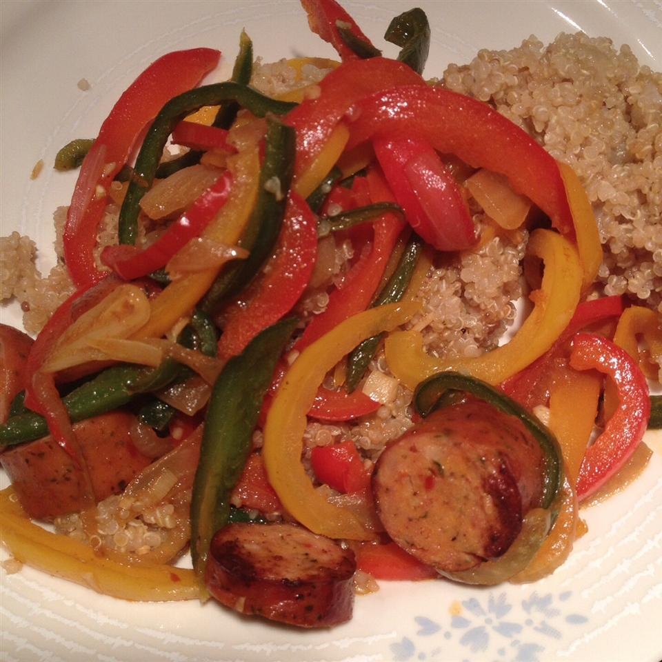 Chicken Chorizo on Quinoa with Peppers Bwal