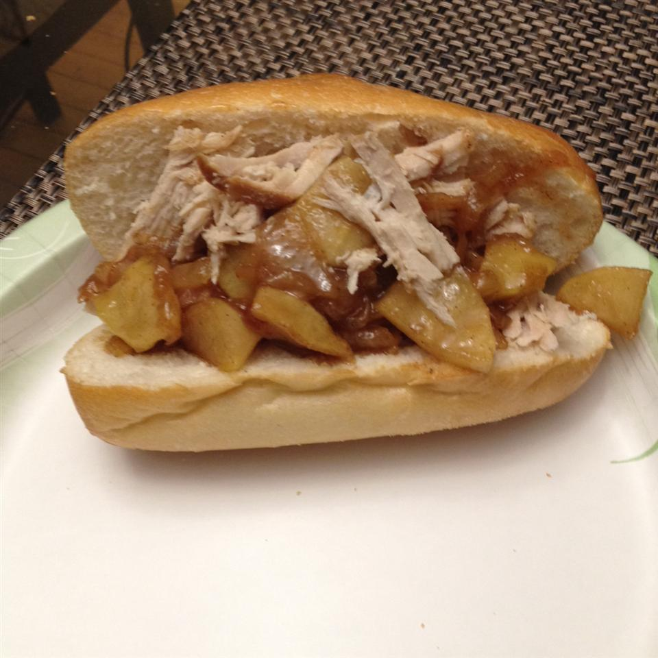 Apple Cider Pulled Pork with Caramelized Onion and Apples