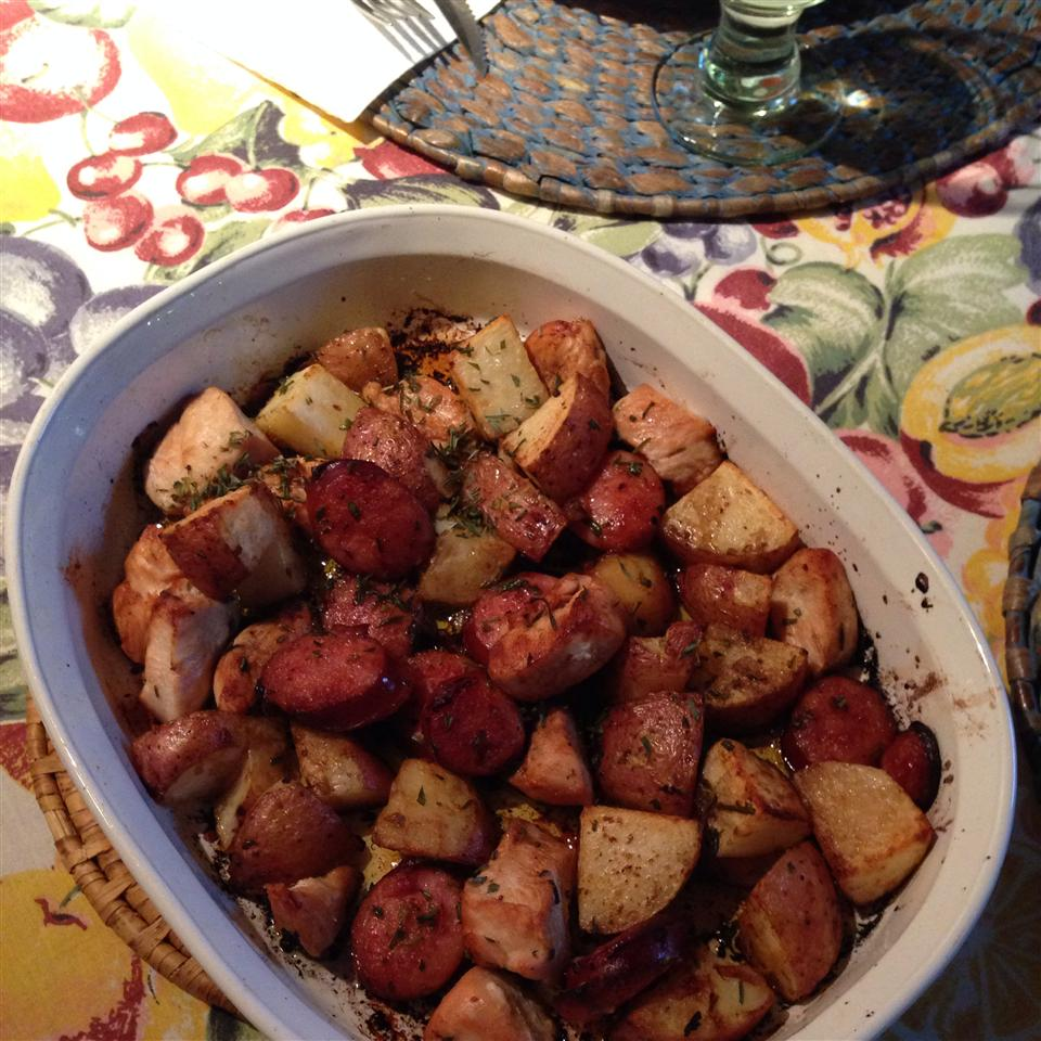 Crispy Oven-Roasted Rosemary Chicken with Sausage and Potatoes MCarol