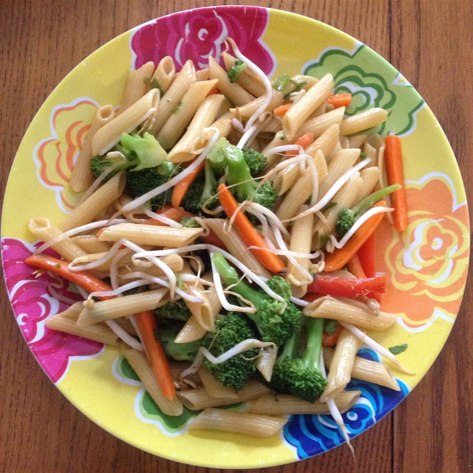 Asian Pasta Salad with Beef, Broccoli and Bean Sprouts Beth Cosby