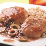 Chicken Thighs with Green Olive, Cherry & Port Sauce