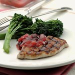 Grilled Pork Chops with Rhubarb Chutney