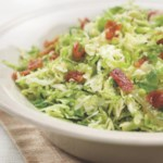 Shredded Brussels Sprouts with Bacon & Onions