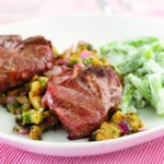 Grilled Lamb Chops with Eggplant Salad