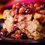 Cinnamon Bread Pudding with Cranberry-Raisin Sauce