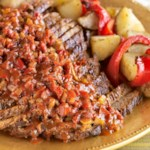 Fennel-Garlic Braised Brisket with Roasted Peppers & Potatoes