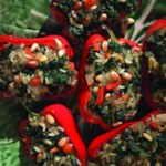 Roasted Red Peppers Stuffed with Kale & Rice