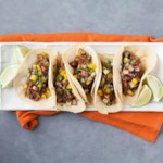 Slow-Cooker Beef Tacos with Rhubarb Salsa