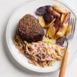 Pastrami-Spiced Beef with Sauerkraut-Broccoli Slaw