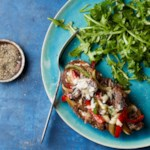 Steak & Pepper Tartines with Arugula Salad
