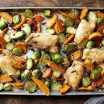 Maple-Roasted Chicken Thighs with Sweet Potato Wedges and Brussels Sprouts