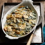 Parmesan Scalloped Potatoes with Spinach