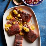 Coffee-Rubbed Salmon with Orange Salsa