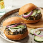Greek Turkey Burgers with Spinach, Feta & Tzatziki