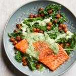 Roasted Salmon with Smoky Chickpeas & Greens