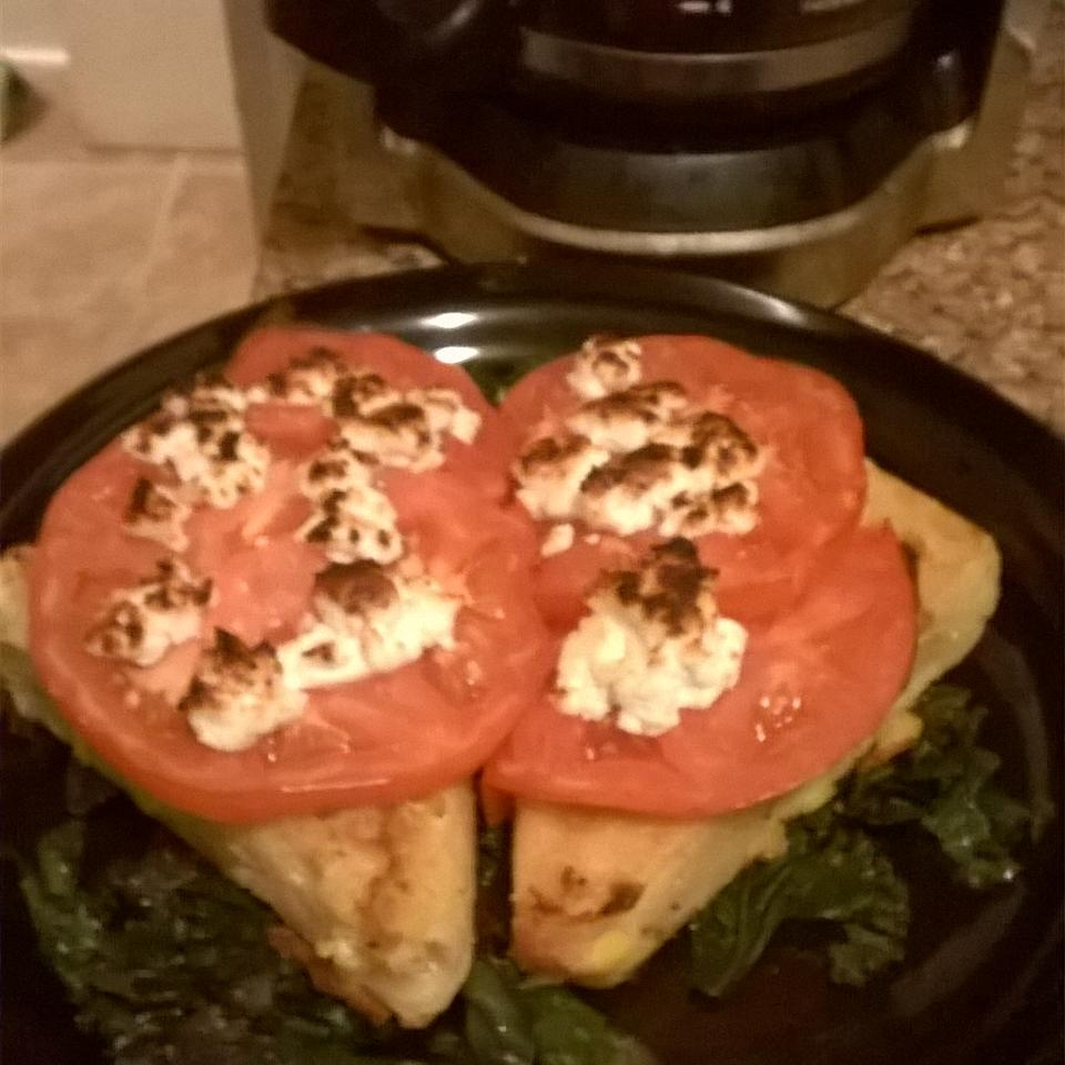 Pan-fried Polenta with Corn, Kale and Goat Cheese cowgirll