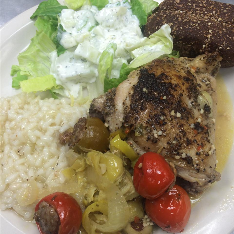 Spicy Mediterranean Chicken with Sausage-Stuffed Cherry Peppers River cook