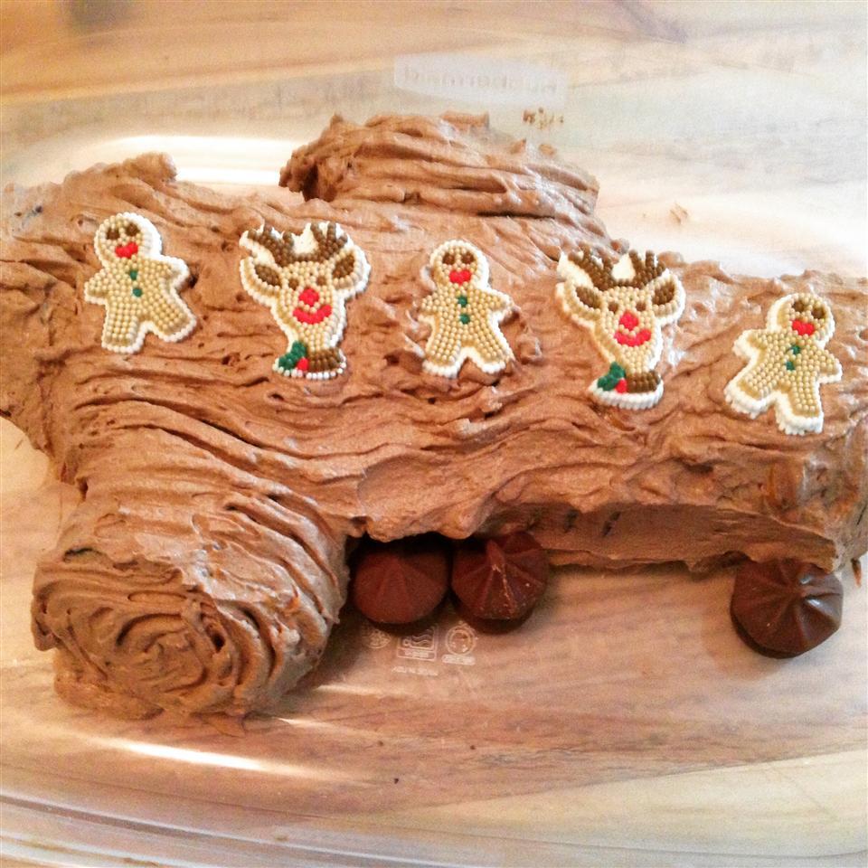 No-Bake Chocolate Yule Log with Chocolate Mushrooms image