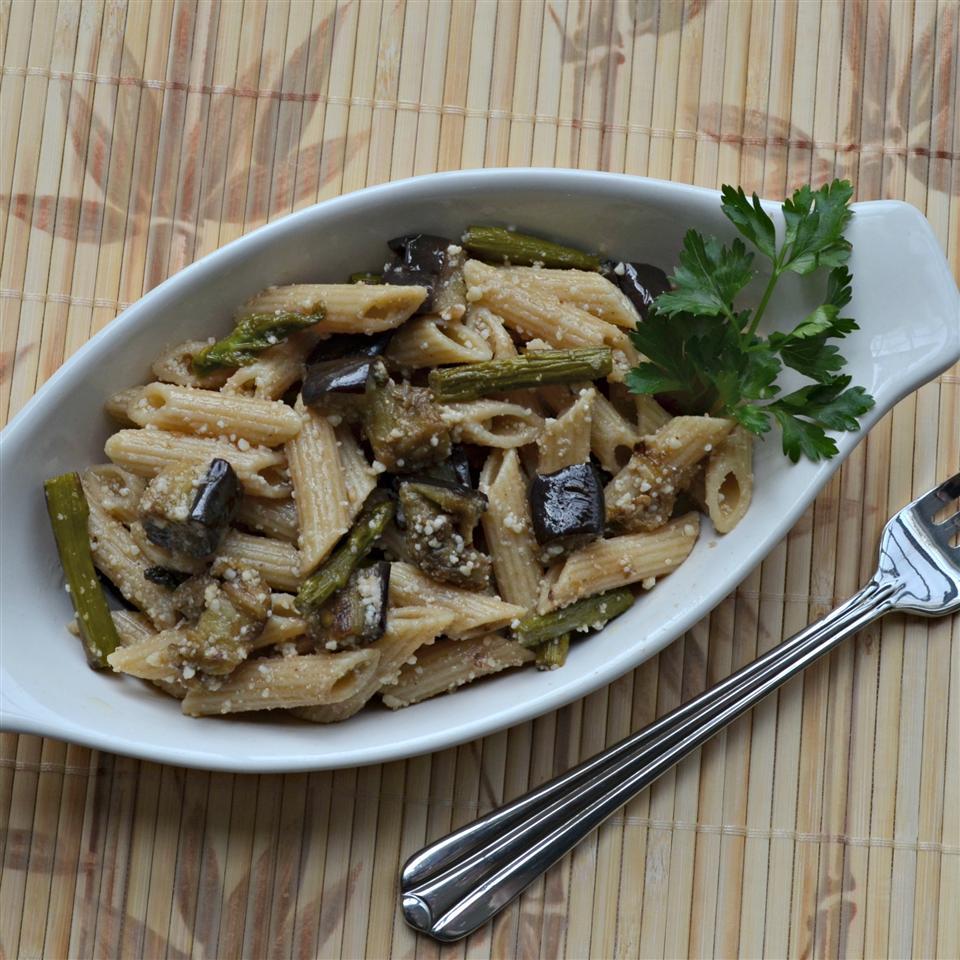 Roasted Eggplant and Asparagus Pasta Salad