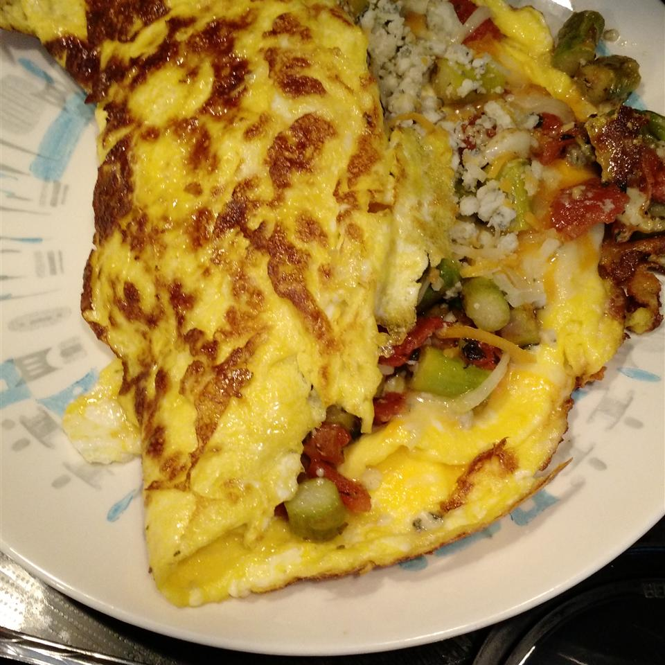 Greek Omelet with Asparagus and Feta Cheese Melissa Hawkins Glancy