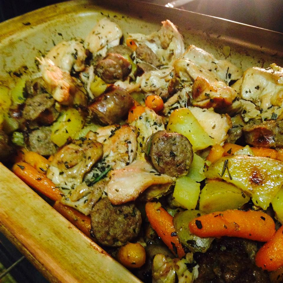 Crispy Oven-Roasted Rosemary Chicken with Sausage and Potatoes