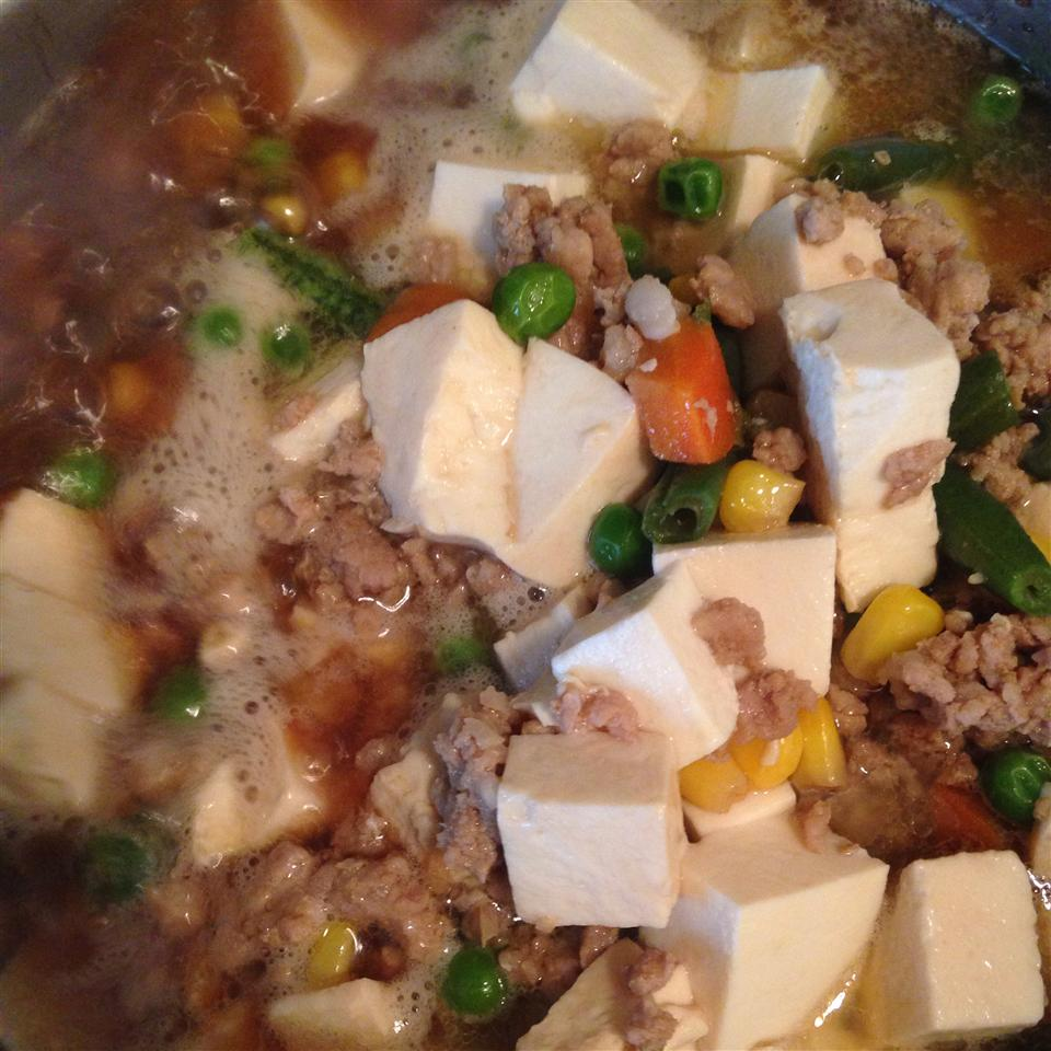 Tofu and Ground Pork with Peas