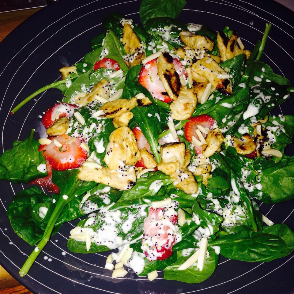Chicken Strawberry Spinach Salad with Ginger-Lime Dressing Kitera