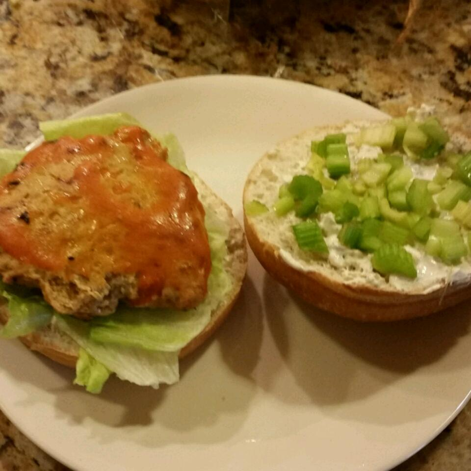 Buffalo Chicken Burgers with Blue Cheese Dressing Lauren Taylor