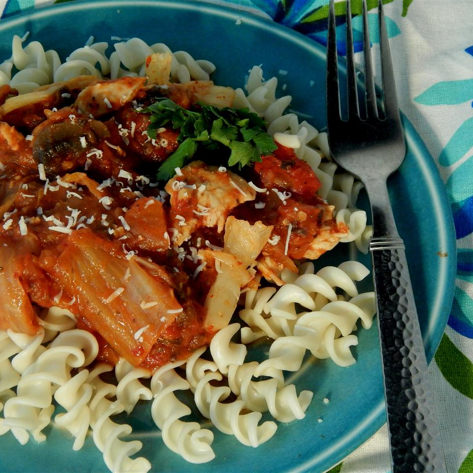 Spicy Kimchi Chicken Rotini jennydotdot