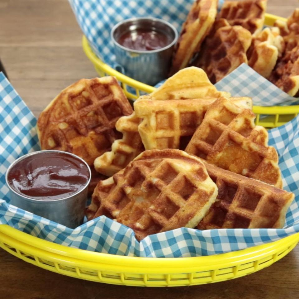 Chicken in a Waffle Snacking in the Kitchen