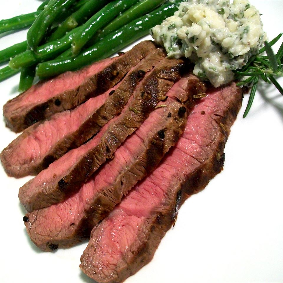 Grilled Flat Iron Steak with Blue Cheese-Chive Butter