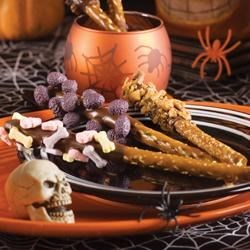 Photo of Spook-tacular Chocolate-Dipped Pretzels by Butterfinger