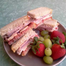 Mini Ham, Swiss, Rye Sandwiches with Cranberry Onion Relish Recipe