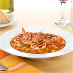 Icy Fruit Gazpacho with Spicy Grilled Shrimp Recipe