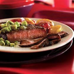 Cumin-Rubbed Steaks with Avocado Salsa Verde Recipe