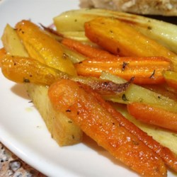 Roasted Sweet Potatoes and Vegetables With Thyme and Maple Syrup Recipe