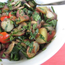 Baked Mushrooms and Potatoes with Spinach Recipe