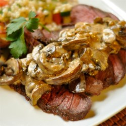 Flat Iron Steak with Mushroom Sauce
