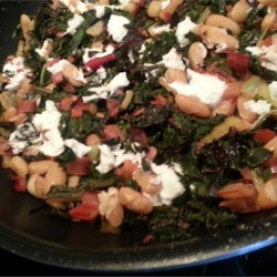 Swiss Chard with Pinto Beans and Goat Cheese Recipe