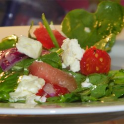 Watermelon and Feta Salad with Arugula and Spinach Recipe