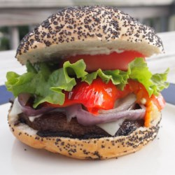 Grilled Portobello Sandwich with Roasted Red Pepper and Mozzarella Recipe